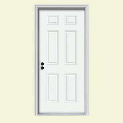 34 in. x 80 in. 6-Panel White Painted Steel Prehung Right-Hand Inswing Front Door w/Brickmould