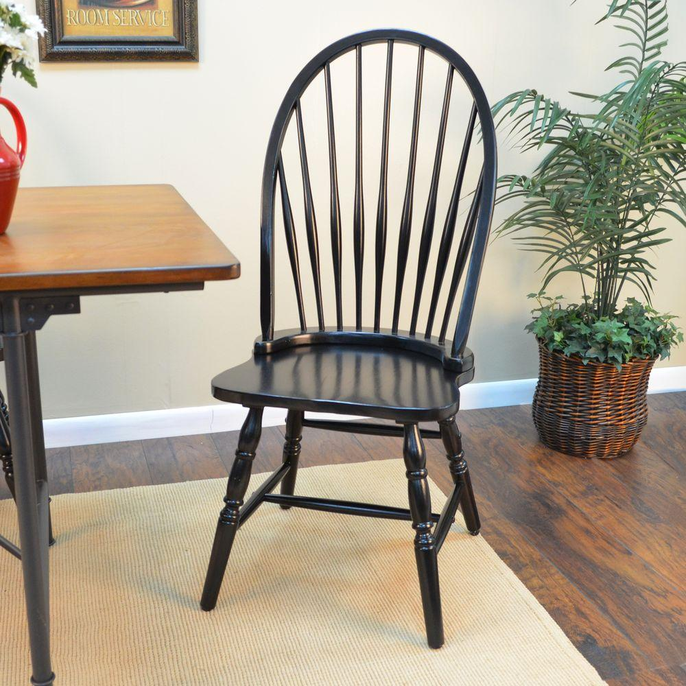 Ina Cottage Black Wood Windsor Dining Chair