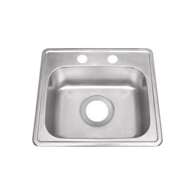 Drop-In Stainless Steel 15 in. 2-Hole Single Bowl Bar Sink