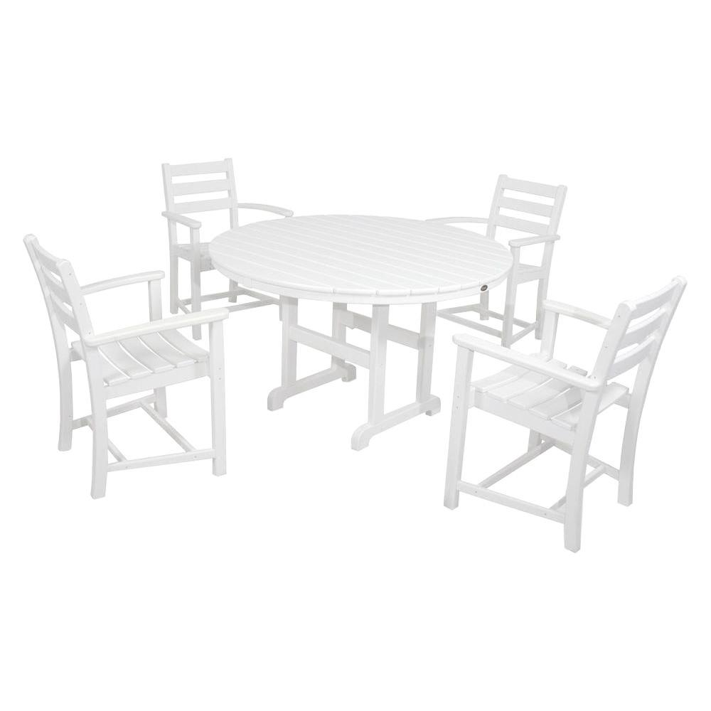 Monterey Bay Classic White 5-Piece Plastic Outdoor Patio Dining Set