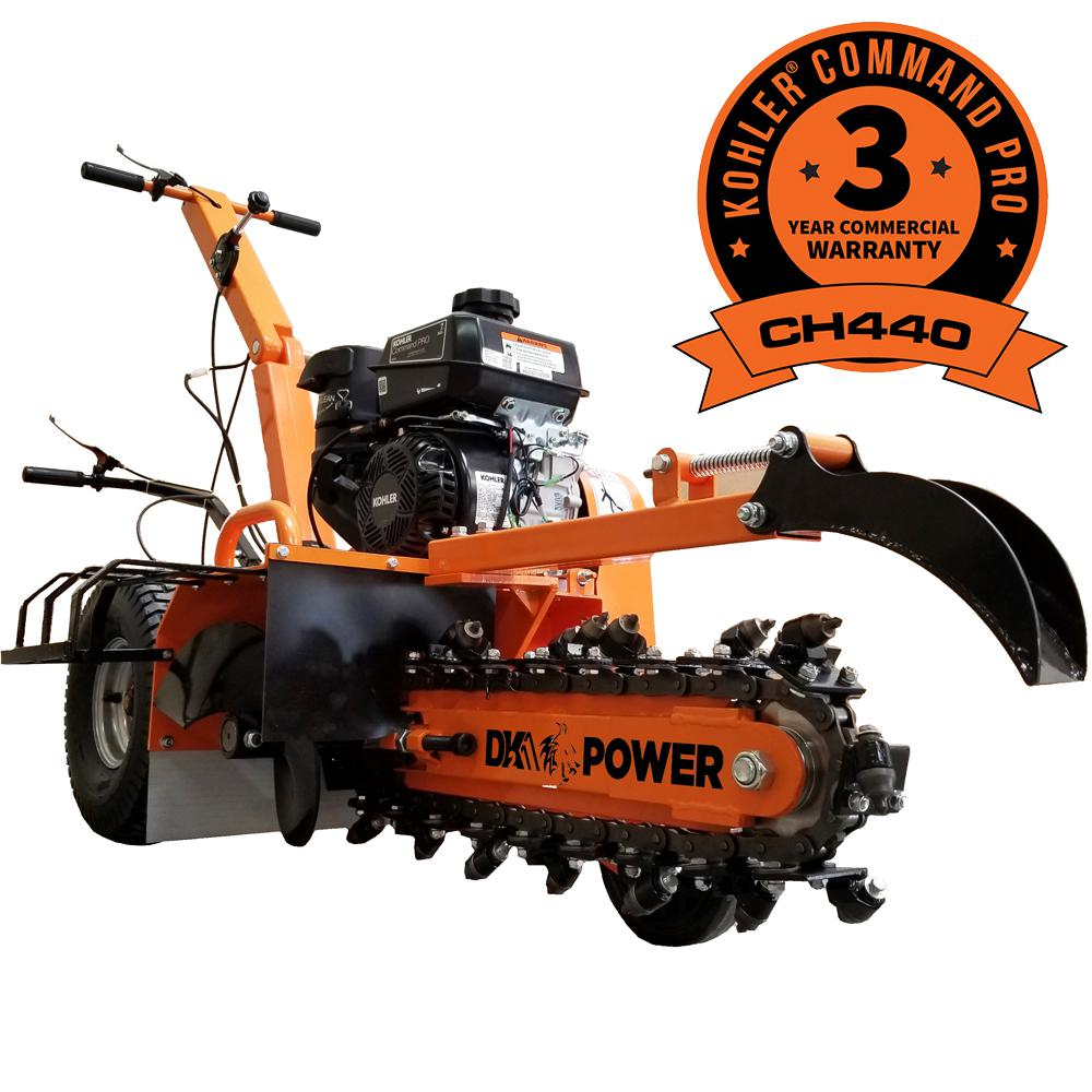 Detail K2 18 in  7 HP Gas Powered Kohler Engine Trencher with 5-Position  Depth Adjustment