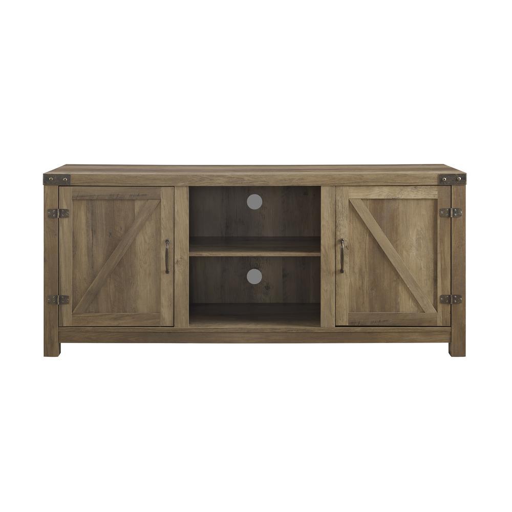 Walker Edison Furniture Company 58 In. Rustic Oak Barn Door TV Stand With  Side Doors