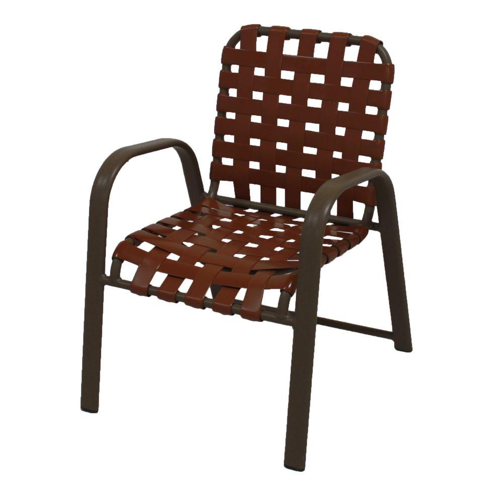 Internet 206885751 Marco Island Brownstone Commercial Grade Aluminum Patio Dining Chair With Saddle Vinyl