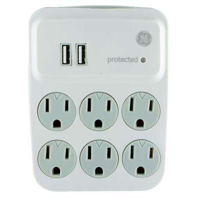 6-Outlet 2 USB Charging Twist-to-Lock Surge Protector Tap, White