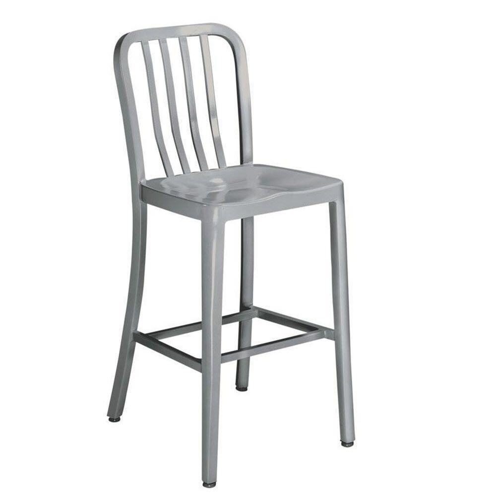 Home Decorators Collection Sandra 24 In Brushed Aluminum Bar Stool 2478600440 The Home Depot