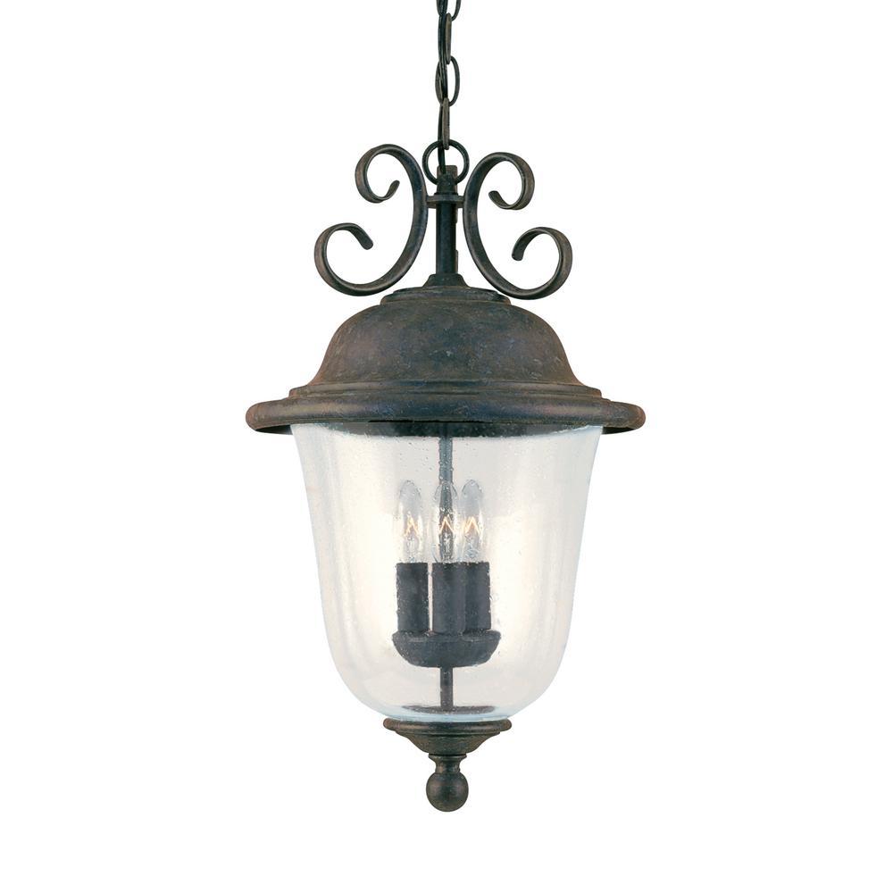 Trafalgar 3-Light Oxidized Bronze Outdoor Hanging Pendant