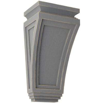 6 in. x 12 in. x 4-3/4 in. Pebble Grey Arts and Crafts Wood Vintage Decor Corbel