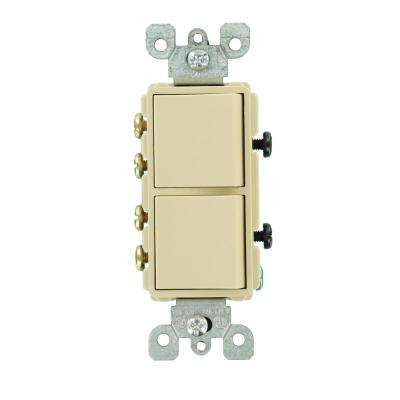 15 Amp Decora Commercial Grade Combination Two 3-Way Rocker Switches, Ivory