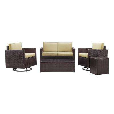 Palm Harbor 5-Piece Wicker Patio Outdoor Conversation Set with Sand Cushions