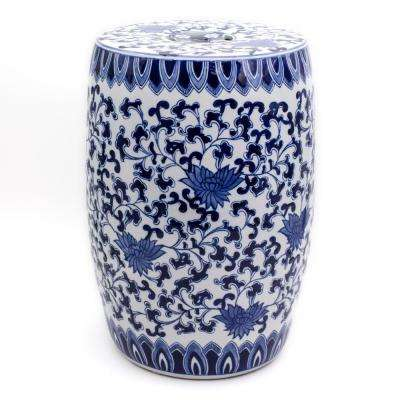 Blue Garden White Lotus Ceramic Drum Stool