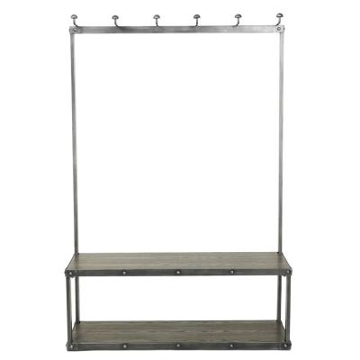 Carew Gray Wood and Metal Coat Rack Bench
