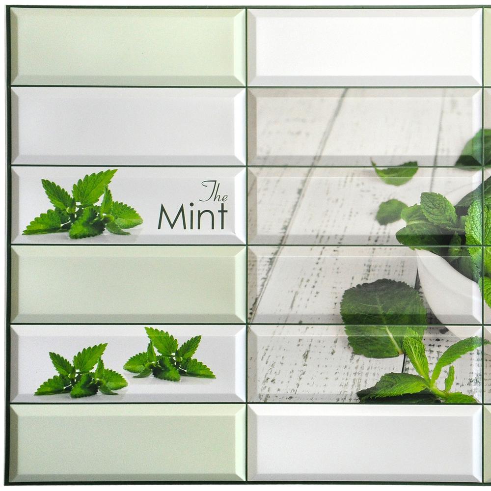 3D Falkirk Retro 10/1000 in. x 38 in. x 19 in. Green Beige Faux Mint Leaves Mortar Pestle PVC Wall Panel