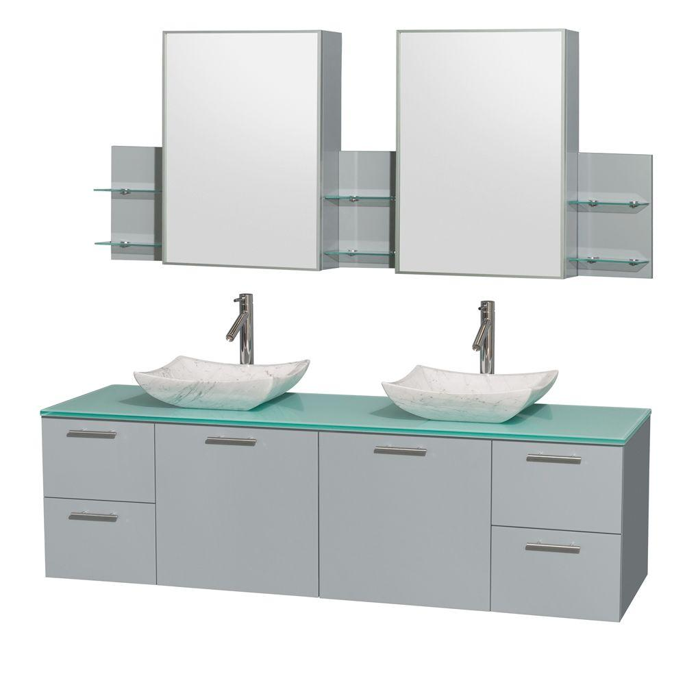 Wyndham Collection Amare 72 In W X 22 25 D Vanity Dove Gray