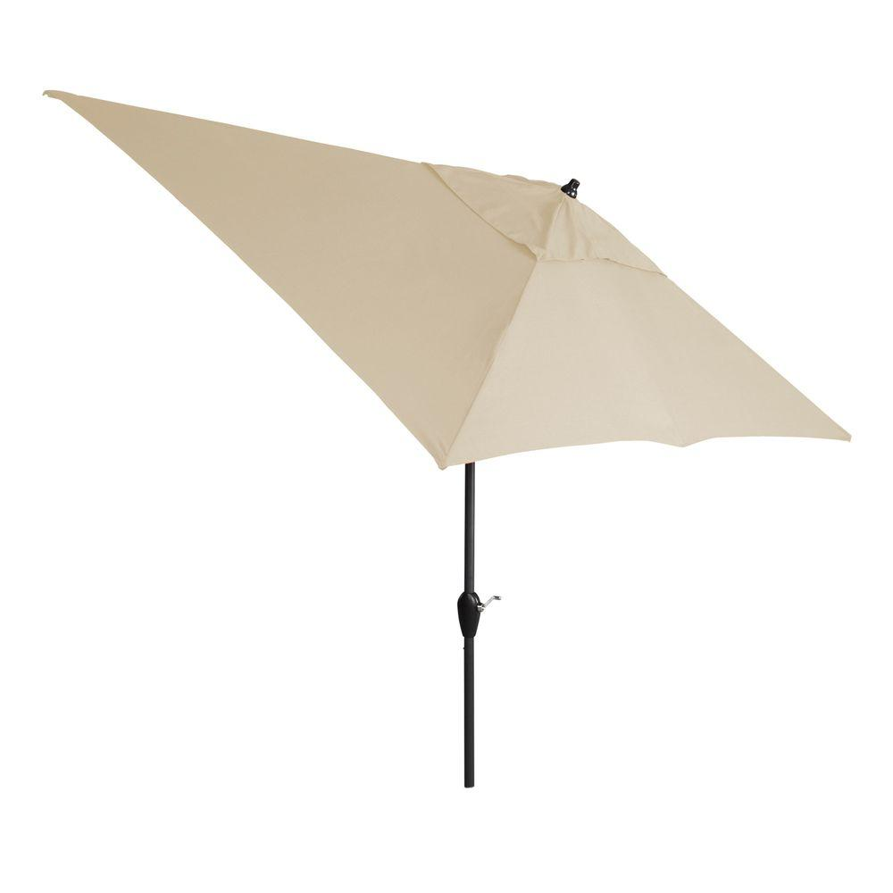 Hampton Bay 10 Ft. X 6 Ft. Aluminum Patio Umbrella In Parchment With  Push Button Tilt 9106 01407100   The Home Depot