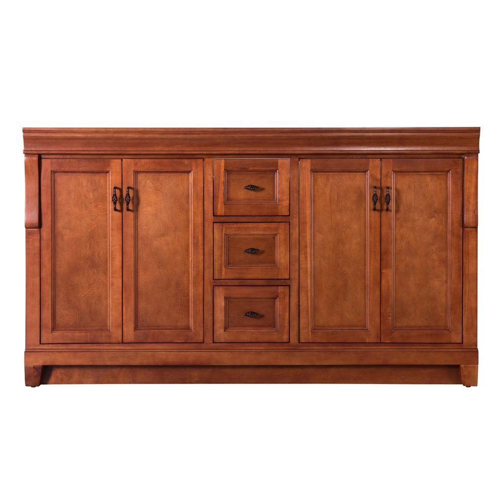 Home Decorators Collection Naples 60 in. W Bath Vanity Cabinet Only in Warm Cinnamon for Double Bowl