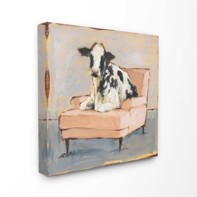"30 in. x 30 in. ""Sweet Baby Calf on a Pink Couch Neutral Color Painting"" by Ethan Harper Canvas Wall Art"