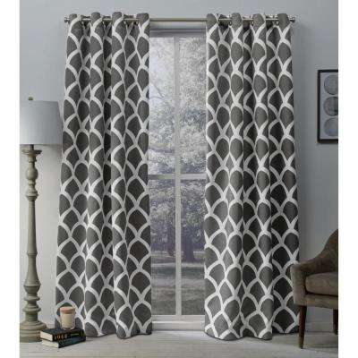Durango Black Pearl Geometric Printed Woven Sateen Grommet Top Window Curtain