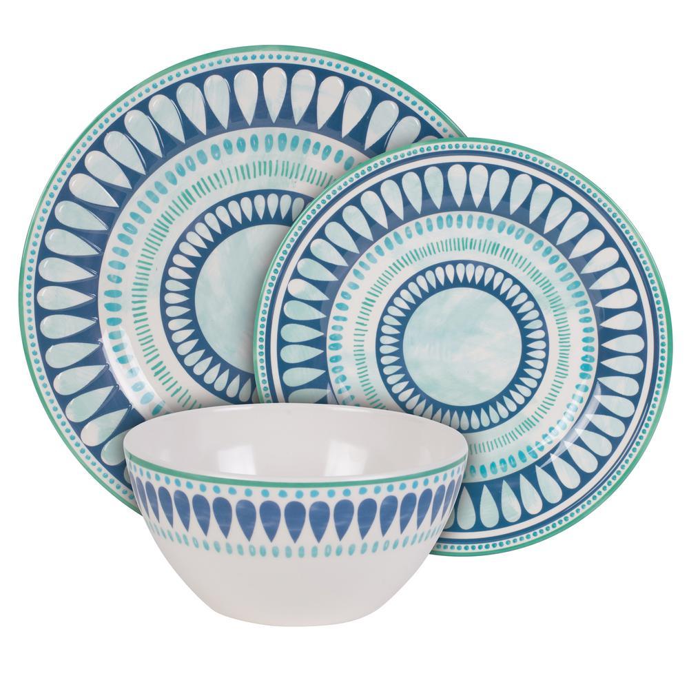 Tranquility 12-Piece Seasonal Blue Melamine Dinnerware Set (Set for 4)