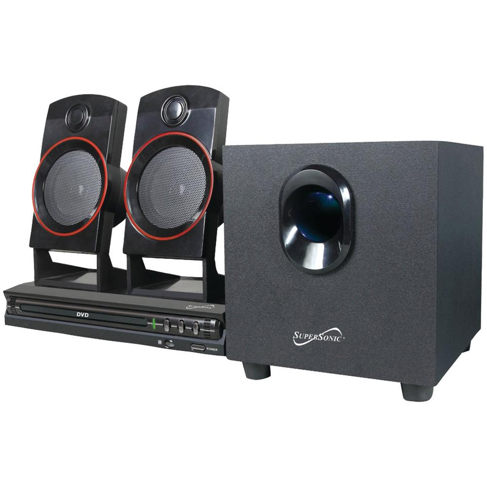 2.1-Channel DVD Home Theater System Bring home the entertainment with the 2.1-Channel DVD Home Theater System. It features 3 speakers, support for a subwoofer and a DVD player. Plus, with 2 karaoke microphone inputs, you can take control of your entertainment.