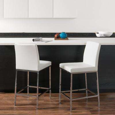 Huntington 25 in. White Leatherette Cushioned Bar Stool (Set of 2)