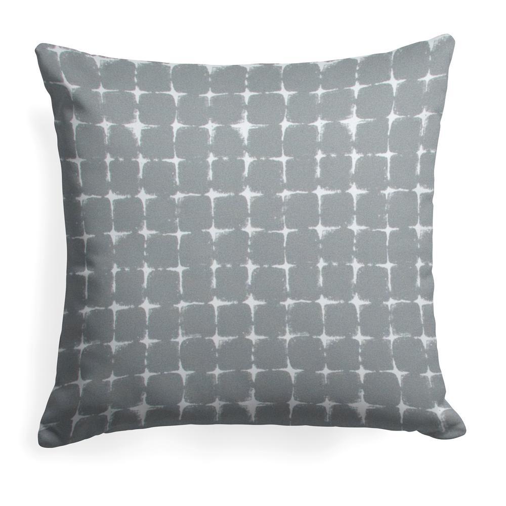Sea Island Grey Square Outdoor Throw Pillow