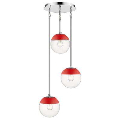 Dixon 3-Light Pendant in Chrome with Clear Glass and Red Cap