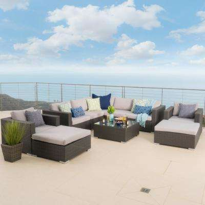Sanger Dark Grey 9-Piece Wicker Patio Sectional Seating Set with Silver Cushions