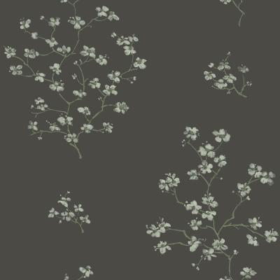 56.4 sq. ft. Morrible Black Floral Strippable Wallpaper
