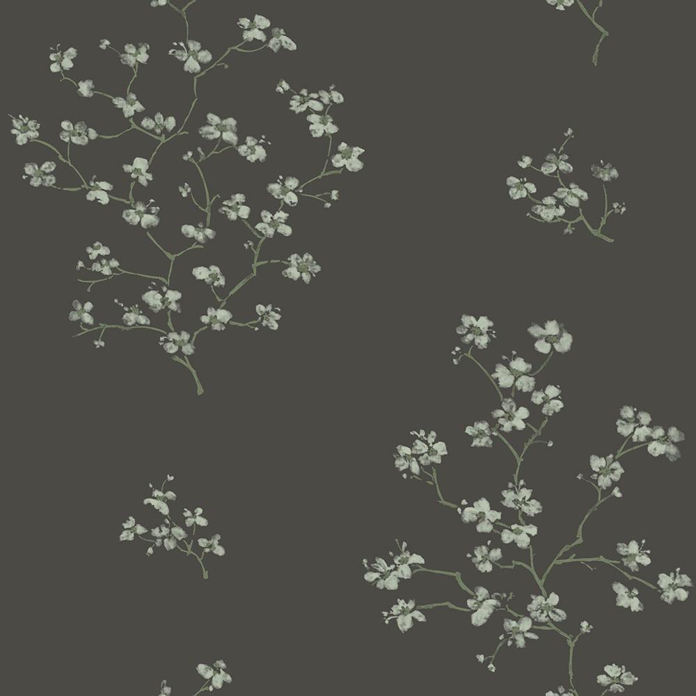 8 in. x 10 in. Morrible Black Floral Wallpaper Sample