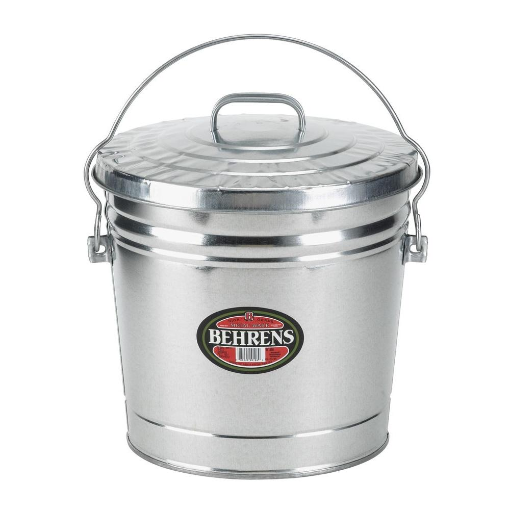 behrens 6 gal galvanized steel round trash can with locking lid