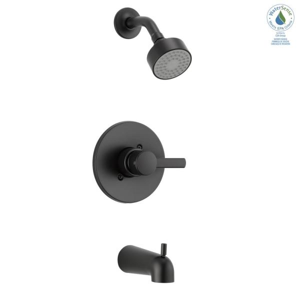 Precept 1-Handle Wall-Mount Tub and Shower Faucet Trim Kit in Matte Black (Valve Not Included)