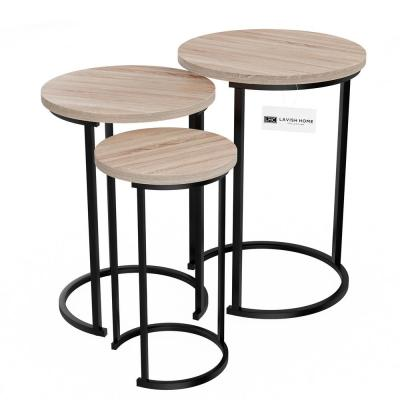 Black Wooden Round Nesting Side Tables with Modern Woodgrain Look (Set of 3)