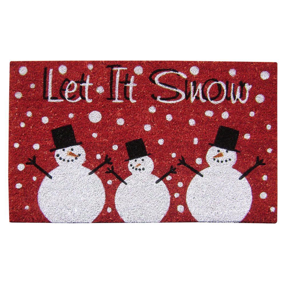 Nedia Home Snow Red 18 in. x 30 in. SuperScraper Vinyl / Coir Door Mat