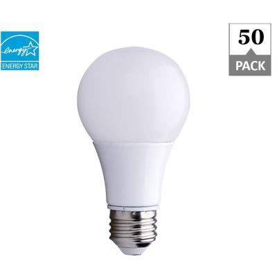 40W Equivalent Soft White 2700K A19 Energy Star and Dimmable 25,000-Hour LED Light Bulb (50-Pack)