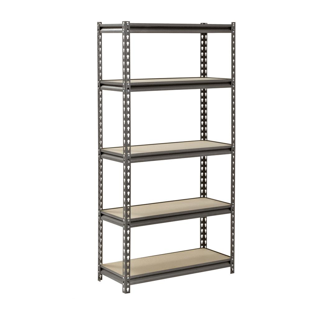 MuscleRack Muscle Rack 60 in. H x 30 in. W x 12 in. D 5 Shelf Z-Beam Boltless Steel Shelving Unit in SilverVein
