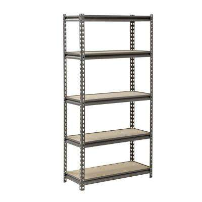 60 in. H x 30 in. W x 12 in. D 5 Shelf Z-Beam Boltless Steel Shelving Unit in SilverVein