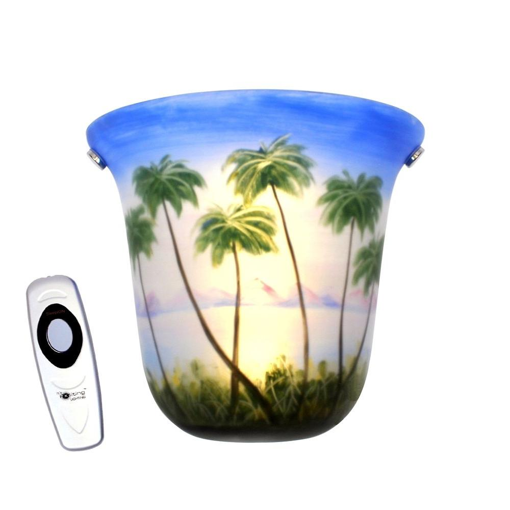It's Exciting Lighting Wall Mount Hand Painted Bell Shaped Beach Theme Battery Operated 3 LED Sconce