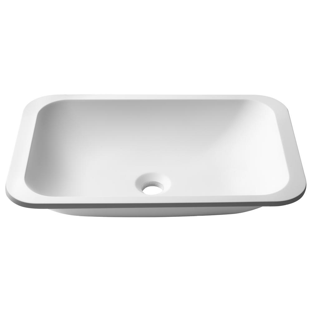 Natura Rectangle Solid Surface Undermount Sink Basin in White