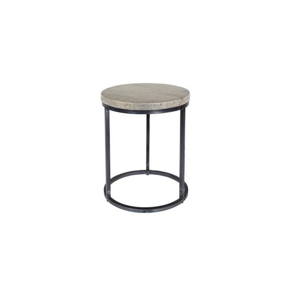 Litton Lane Rustic Small Round Iron And Natural Textured White Wood Accent Table