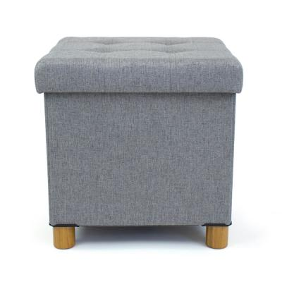 Gray Collapsible Cube Storage Ottoman Foot Stool with Tray