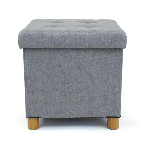 Humble Crew - Gray Collapsible Cube Storage Ottoman Foot Stool with Tray