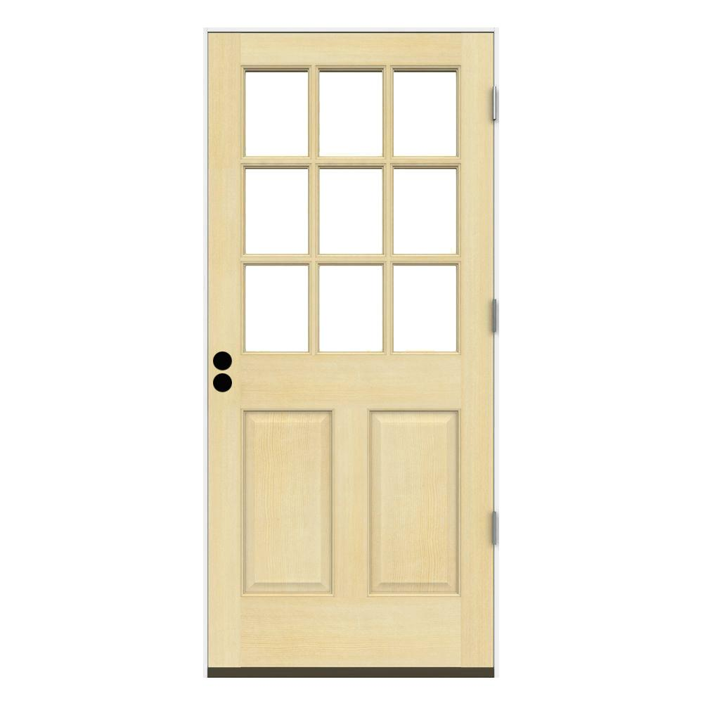 30 In. X 80 In. 9 Lite Unfinished Wood Prehung Left Hand