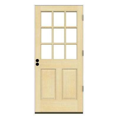 30 in. x 80 in. 9 Lite Unfinished Wood Prehung Left-Hand Outswing Front Door w/Primed Rot Resistant Jamb
