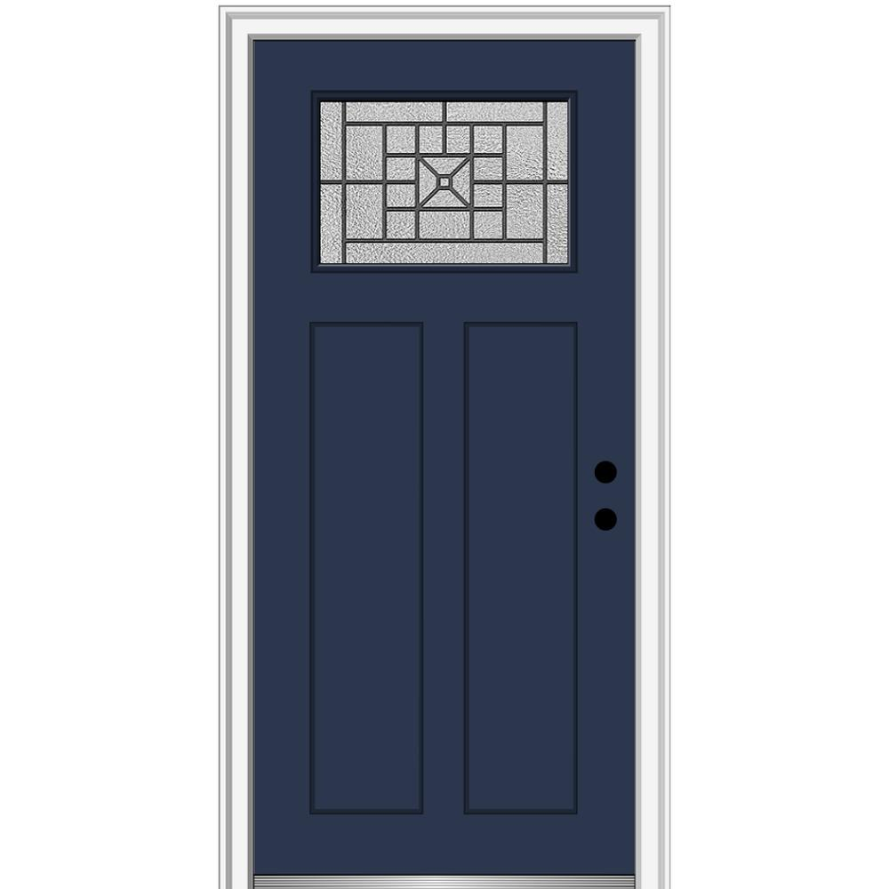 MMI Door 32 in. x 80 in. Courtyard Left-Hand 1-Lite Decorative Craftsman Painted Fiberglass Prehung Front Door, 6-9/16 in. Frame, Naval/Brilliant was $1527.99 now $994.0 (35.0% off)