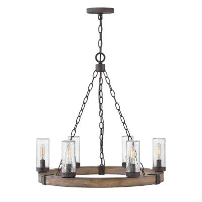 Sawyer Medium 6-Light Sequoia Brown Outdoor Hanging Chandelier