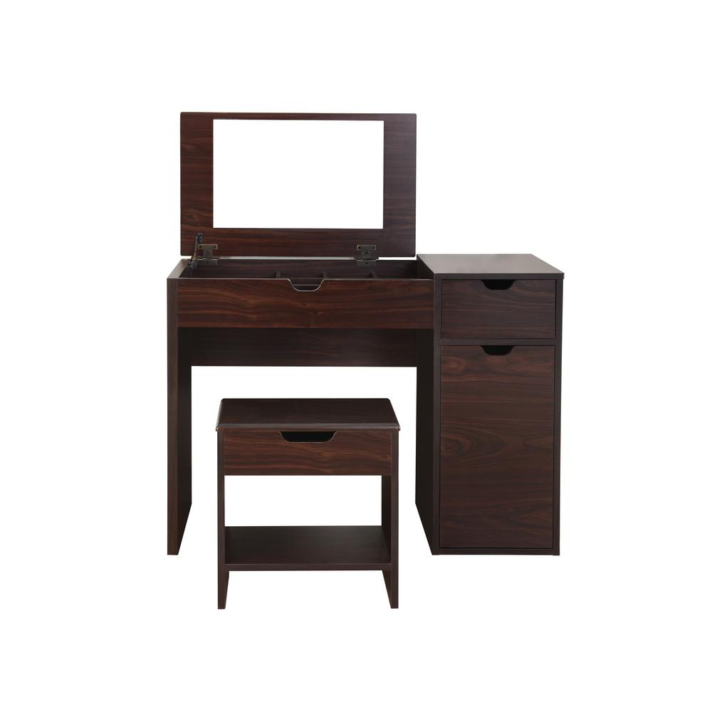 Furniture of america clover 2 piece espresso vanity with for Furniture of america