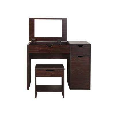Clover 2 Piece Espresso Vanity With Stool
