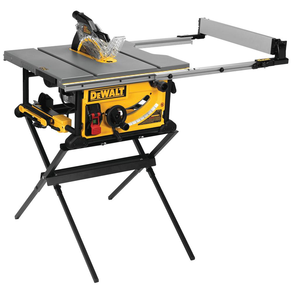 DEWALT 10 in. 15 Amp Corded Jobsite Table Saw with Scissor Stand