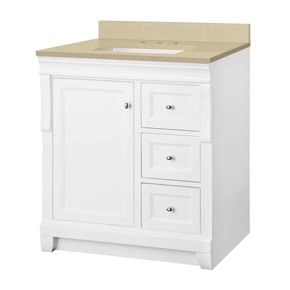 Home Decorators Collection Naples 31 in. W x 22 in. D Vanity in White with Engineered Marble Vanity Top in Crema Limestone with White Sink