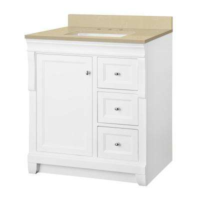 Naples 31 in. W x 22 in. D Vanity in White with Engineered Marble Vanity Top in Crema Limestone with White Sink